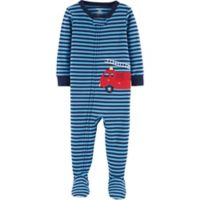 carter's® Size 3T Firetruck Footed Pajamas in Blue