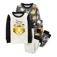 carter's® Size 2T 4-Piece Tiger Pajamas in Grey/White