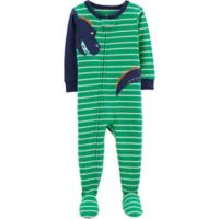 carter's® Size 12M Striped Dinosaur Footed Pajamas in Green