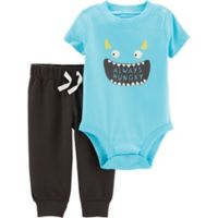 carter's® Size 9M 2-Piece Monster Face Bodysuit and Pants Set in Blue