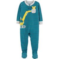 carter's® Size 18M Striped Construction Footed Pajamas in Teal