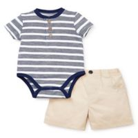 Little Me® Size 9M 2-Piece Striped Short Set in Navy