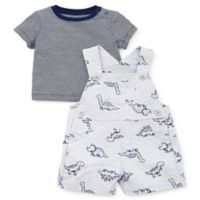 Little Me® Size 6M 2-Piece Tiny Dino Shortalls Set in Grey