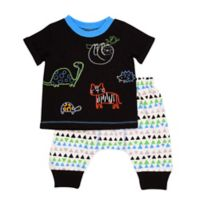 Baby Starters 6M Let's Hang Embroidered 2-Piece Pant Set in Black