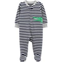 carter's® Newborn Alligator Terry Striped Sleep & Play in Black/White