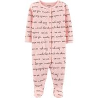 carter's® Newborn Pointelle Script Footie in Pink