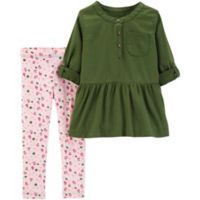 carter's® Newborn 2-Piece Rose Top and Legging Set in Olive