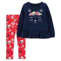 carter's® Size 18M 2-Piece Kitty Top and Pant Set in Navy