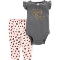 carter's® Size 18M 2-Piece Mommy Cheetah Bodysuit Pant Set in Black