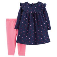carter's® Size 3M 2-Piece Heart Dress Legging Set in Navy