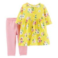 carter's® Size 12M 2-Piece Floral Henley Dress Legging Set in Yellow