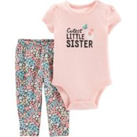 carter s® Size 9M 2-Piece Little Sister Bodysuit Pant Set in Pink 32c888169