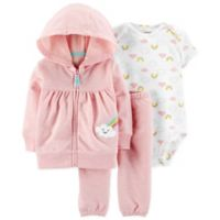 carter's® Size 9M 3-Piece Rainbow Cardigan, Bodysuit and Pant Set in Pink