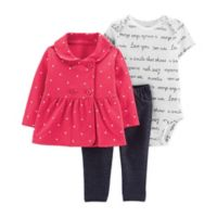 carter's® Size 3M 3-Piece Peplum Cardigan, Bodysuit and Pant Set in Red