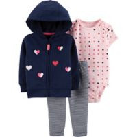 carter's® Size 3M 3-Piece Heart Cardigan, Bodysuit and Pant Set in Navy