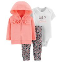 carter's® Size 3M 3-Piece Cheetah Bodysuit, Cardigan and Pant Set in Coral
