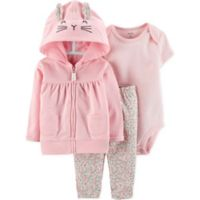 carter's® Size 3M 3-Piece Bunny Bodysuit, Cardigan and Pant Set in Pink