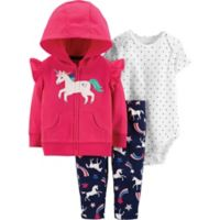 carter's® Size 6M 3-Piece Unicorn Bodysuit, Cardigan and Pant Set in Pink