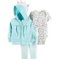 carter's® Newborn 3-Piece Dinosaur Bodysuit, Cardigan and Pant Set in Teal