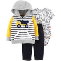 carter's® Newborn 3-Piece Dump Truck Hoodie, Bodysuit, and Pants Set in Yellow/Blue