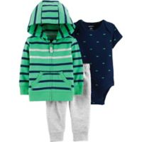 carter's® Size 18M 3-Piece Green Stripe Jacket Set