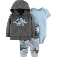 carter's® Size 12M Camo Dinosaur 3-Piece Jacket Set in Grey
