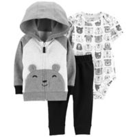 carter's® Size 6M 3-Piece Bear Hoodie, Bodysuit, and Pants Set in Grey