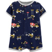 carter's® Size 3M Snap-Up Construction Romper in Navy