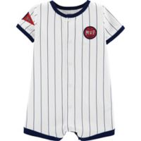 carter's® Size 3M Snap-Up Baseball Romper in White