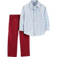 carter's® Size 3M 2-Piece Schiffli Shirt and Pants Set in Light Blue/Red