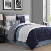 VCNY Home Caprice 8-Piece Reversible King Comforter Set in Navy