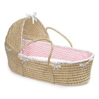 Badger Basket® Maize Hooded Moses Basket in Natural with Pink Chevron Bedding