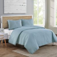VCNY Home Pom Pom King Quilt Set in Aqua