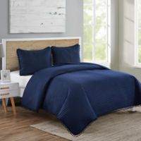 VCNY Home Pom Pom King Quilt Set in Navy