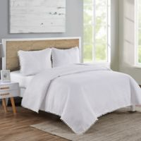 VCNY Home Pom Pom King Quilt Set in White