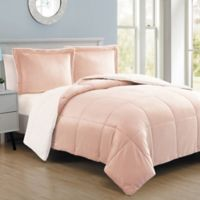 VCNY Home Micro Mink Sherpa Reversible 2-Piece Twin Comforter Set in Blush