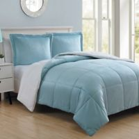 VCNY Home Micro Mink Sherpa Reversible 2-Piece Twin Comforter Set in Blue
