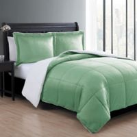 VCNY Home Micro Mink Sherpa Reversible 3-Piece King Reversible Comforter Set in Green