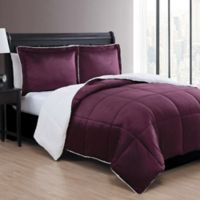 VCNY Home Micro Mink Sherpa Reversible 2-Piece Twin Comforter Set in Purple