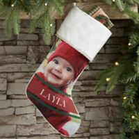 Holly Jolly Smile Personalized Photo Christmas Stocking in Ivory