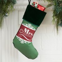 Happy Couple Personalized Christmas Stockings in Green