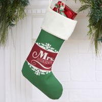 Happy Couple Personalized Christmas Stockings in Ivory