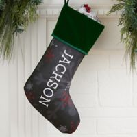 Chalked Snowflakes Personalized Christmas Stocking in Green