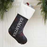 Chalked Snowflakes Personalized Christmas Stocking in Ivory