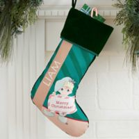 Precious Moments® Christmas Elf Personalized Stocking in Green