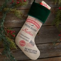 Special Delivery From Santa Personalized Christmas Stocking in Green