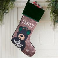 Holiday Bear Family Personalized Christmas Stocking in Green