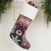 Holiday Bear Family Personalized Christmas Stocking in Ivory