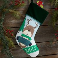 Reindeer Family Personalized Christmas Stocking in Green