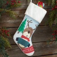 Reindeer Family Personalized Christmas Stocking in Ivory
